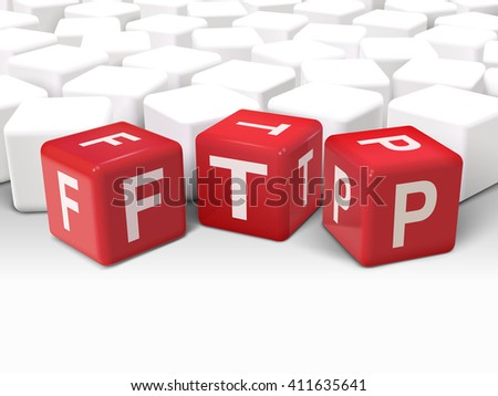 3d illustration dice with word FTP File transfer Protocol on white background - stock vector