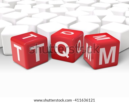 3d illustration dice with word TQM total quality management on white background