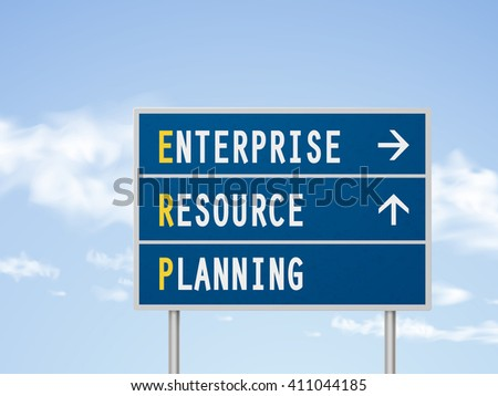 3d illustration enterprise resource planning road sign isolated on blue sky