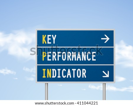 3d illustration key performance indicator road sign isolated on blue sky - stock vector