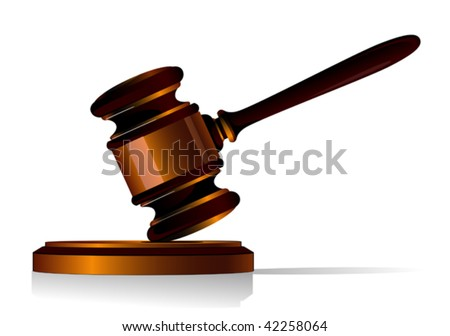 3d illustration of a wooden gavel used by a judge when delivering judgement in court or an auctioneer resting at an angle in the air on a wooden base, isolated on white - stock vector