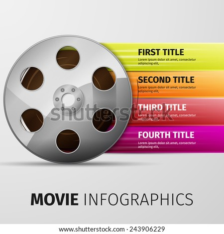 3d illustration of cinema clap and film reel, over white background - stock vector