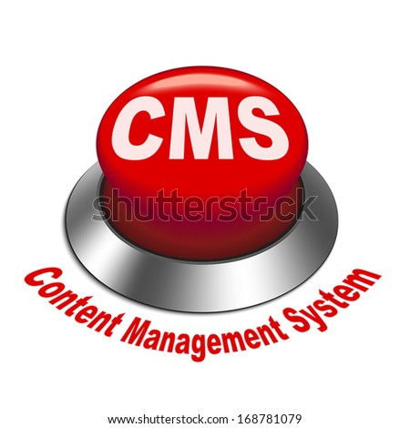 3d illustration of cms (content management system) button isolated white background - stock vector