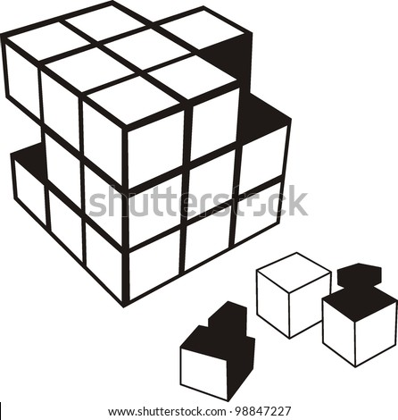 3d illustration of cube assembling from blocks