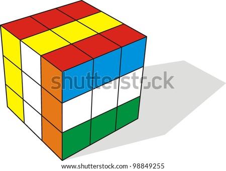3d illustration of cube assembling from blocks - stock vector