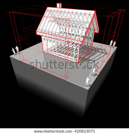 3d illustration of diagram of a framework construction of a detached house with 3D dimensions - stock vector