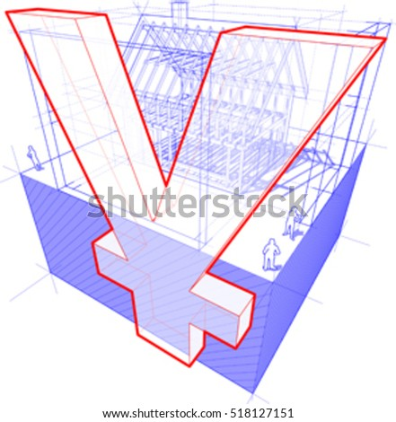 3d illustration of diagram of a framework construction of a detached house with 3D dimensions and yen or yuan currency sign