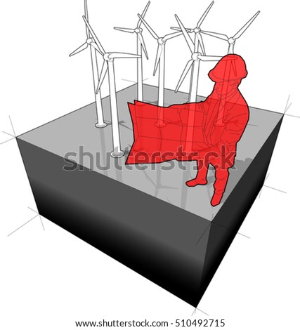 3d illustration of Diagram of a wind turbine farm with architect or engineer holding design plan