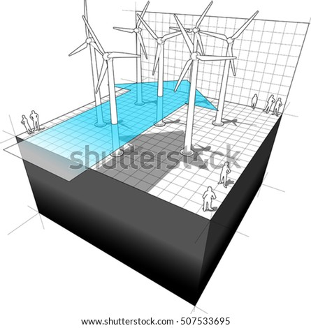 3d illustration of diagram of a wind turbine farm with wind arrow and business diagram in the background of wind turbines