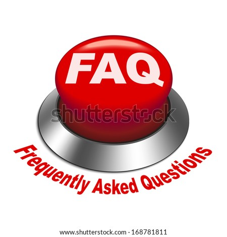 3d illustration of faq (frequently asked questions) button isolated white background - stock vector
