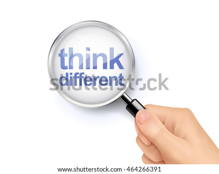 3D illustration of magnifying glass over the words of think different