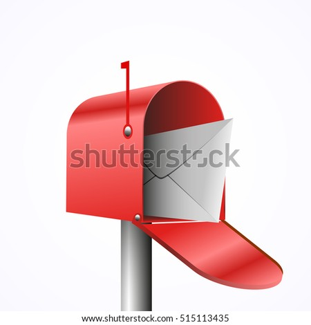 3d illustration of opened red mailbox with envelope, isolated on white, vector