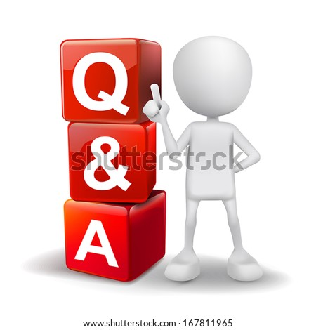3d illustration of person with word Q&A cubes - stock vector