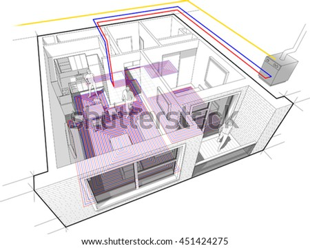 3d illustration of Perspective cutaway diagram of a one bedroom apartment completely furnished with hot water underfloor heating and gas water boiler as source of energy for heating - stock vector