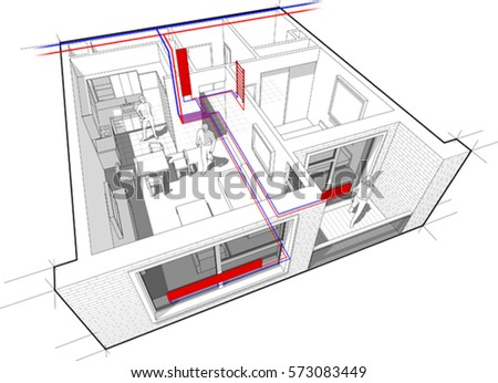 3d of perspective cutaway diagram of a one bedroom apartment completely furnished with hot water
