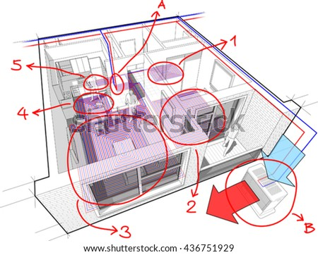 3d illustration of Perspective cutaway diagram of  apartment  with hot water underfloor heating and air source heat pump with central heating system as source of heating energy with hand drawn notes