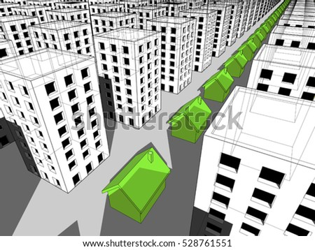 3d illustration of Row of green ecological houses surrounded by many blocks of flats