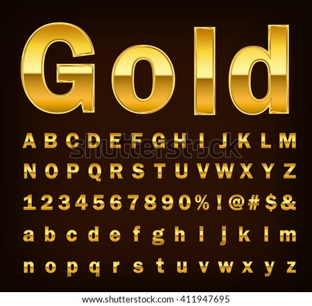 3d illustration of shine gold letter on brown background