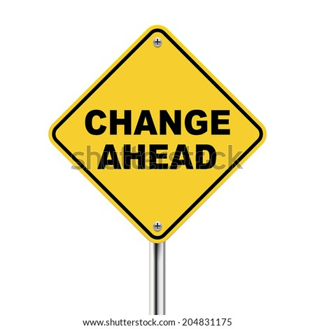 3d illustration of yellow roadsign of change ahead isolated on the white background