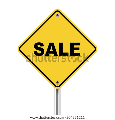 3d illustration of yellow roadsign of sale isolated on white background - stock vector