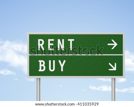 3d illustration road sign with rent and buy isolated on blue sky - stock vector
