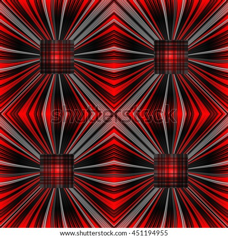 3D illustration. Seamless c radial rays and checkered squares. The three-dimensional luminous psychedelic space. Regular pattern. - stock vector