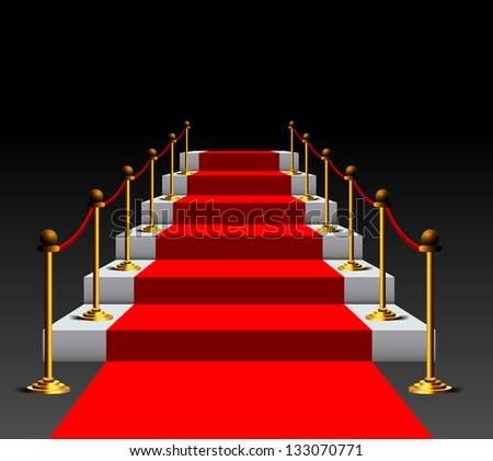 3d image of red carpet on stairs - stock vector