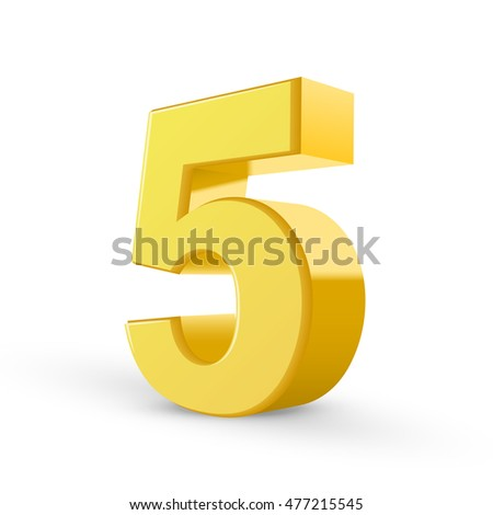 3D image shiny yellow number 5 isolated on white background