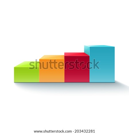 3D infographic colorful chart diagram. Graph. Vector illustration - stock vector