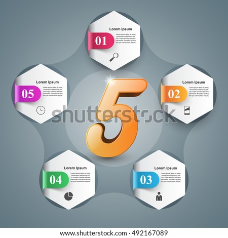 3D infographic design template and marketing icons. Five icon.