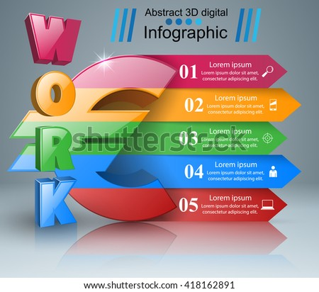 3D infographic template. Euro, Money icon.. 3d work icon.