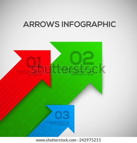 3D Infographic with arrows. Vector. - stock vector