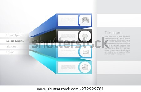 3D Infographics Background Layout with Four Options - stock vector