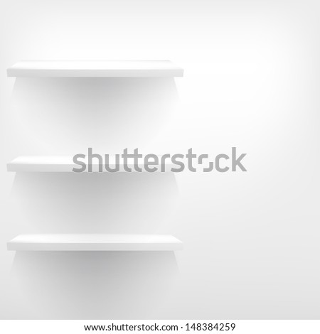 3d isolated Empty shelf for exhibit. EPS 10 - stock vector