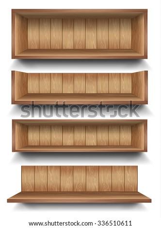 3d isolated Empty shelf for exhibit. Vector illustration. - stock vector