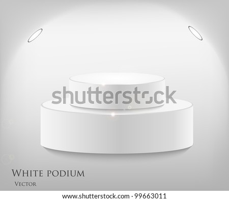 3d isolated Empty white podium on gray background. Vector illustration - stock vector