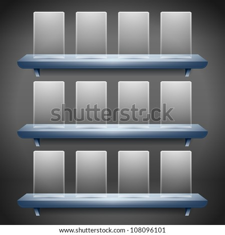 3d isolated shelf for exhibit with empty glass buttons - stock vector