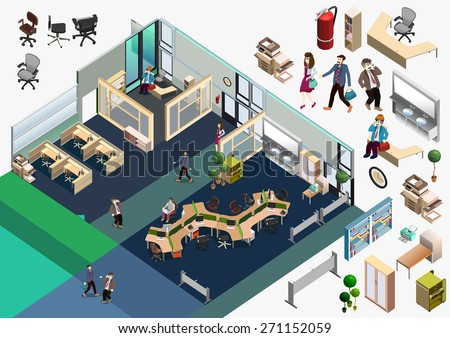 3d isometric abstract office floor interior departments concept vector. Creative business people collection. manager room, meeting room, workplaces - stock vector