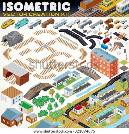 3D Isometric City Map Kit. Vector Set Include: Railroad Objects, Buildings, Plants, Cars, Road Paths and other Urban Items and Elements. Create Your Own Railroad Scheme or Town Map - stock vector