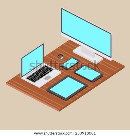 3d isometric computer equipment mock up vector. Flat design illustration EPS 10