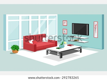 3d isometric design of apartment. Modern graphic living room interior with furniture: sofa, TV-set, table, flowerpot, shelves. - stock vector