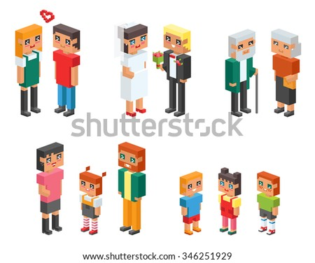 3d isometric family couples children, kids people concept flat icons. Flirting, love, first date, wedding and parenting. Family concept. Together concept. People couple vector 3d square family icons - stock vector