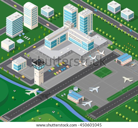 3D isometric industrial landscape of the city airport with the aircraft, the runway and the terminal building travel