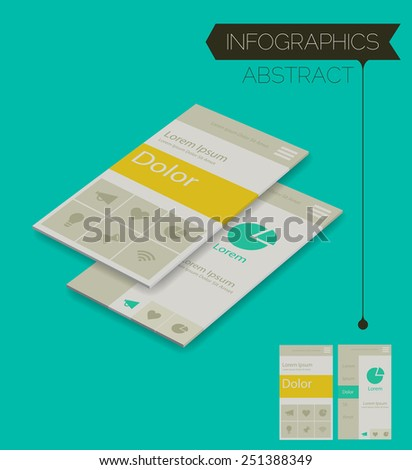 3d isometric infographics concept, on trend emerald background - stock vector