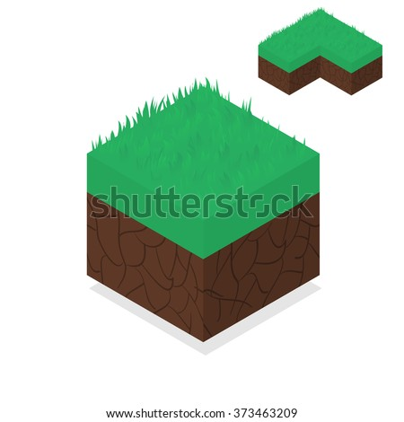 3D Isometric Landscape Cube - Ground Grass Element. Icon Can be used for Game, Web, Mobile App, Infographics. Game asset. - stock vector