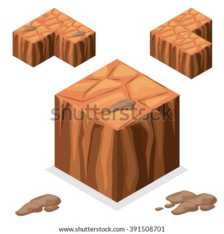 3D Isometric Landscape Cube - nature unending desert and rock Element. Icon Can be used for Game, Web, Mobile App, Infographics. Game asset. - stock vector