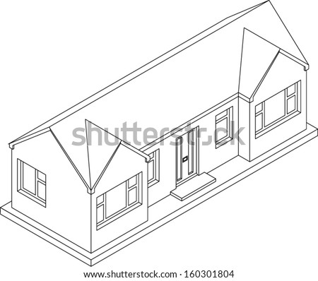 3d Isometric Line Drawing Of A Double Fronted Single Story House Bungalow Vector Version