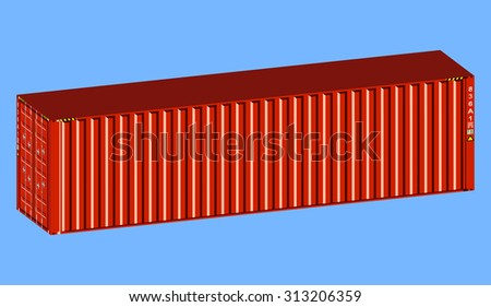 3D isometric metal red container - stock vector