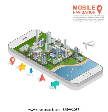 3d isometric mobile GPS navigation concept, vector - stock vector