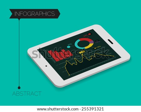 3d isometric mobile infographics concept, on trend emerald background - stock vector